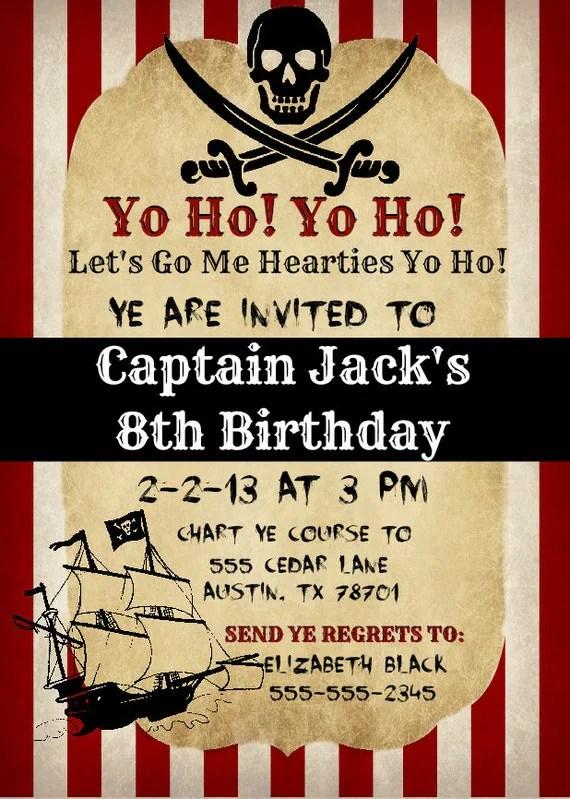 Printable Vintage Pirate Invitation