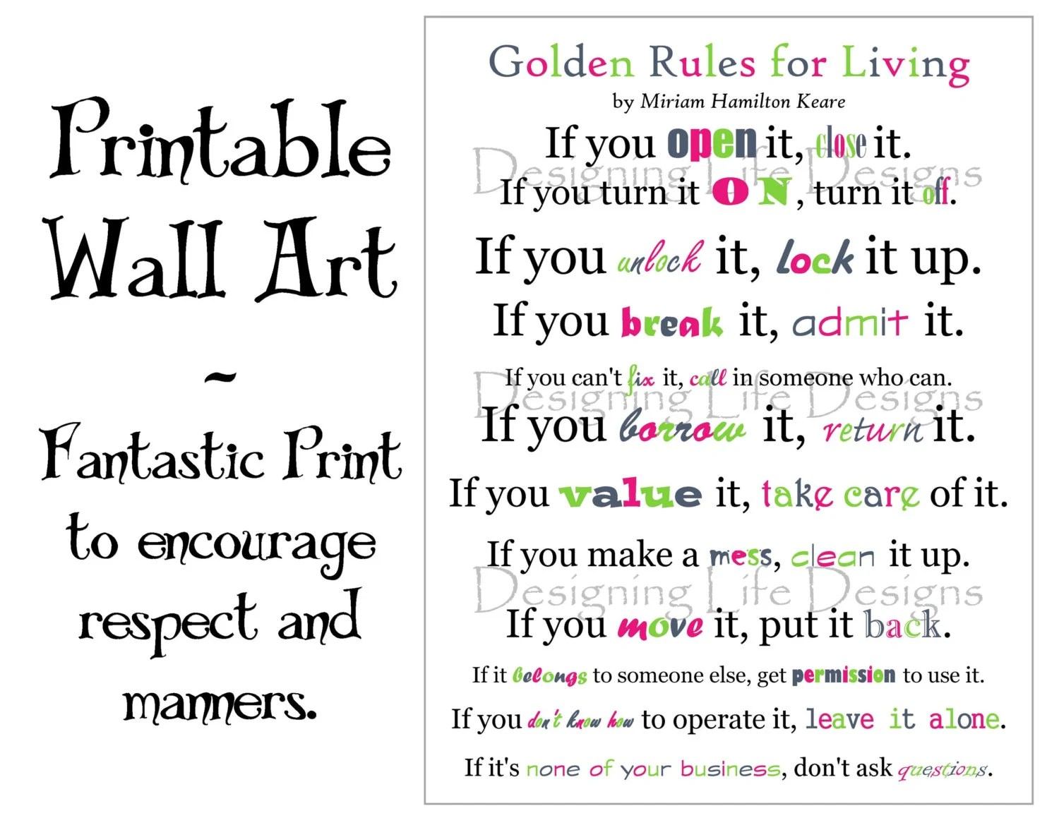 Golden Rules For Living Positive Wall Art Printable