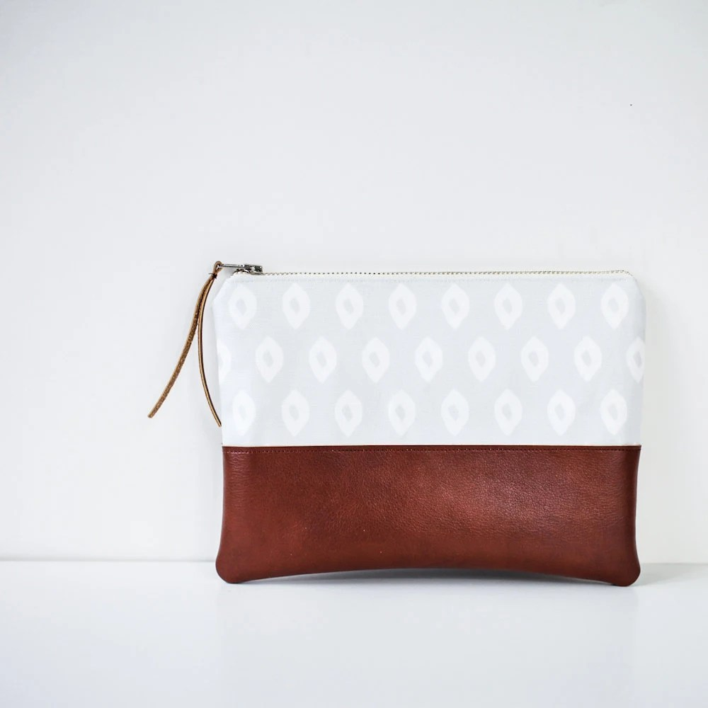 Ikat Pouch in Grey & Brown - Ready to Ship