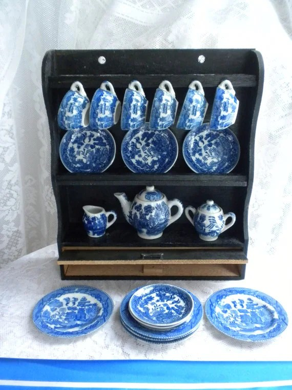Reserved For Lennie China Toy Tea Set With Cabinet Blue