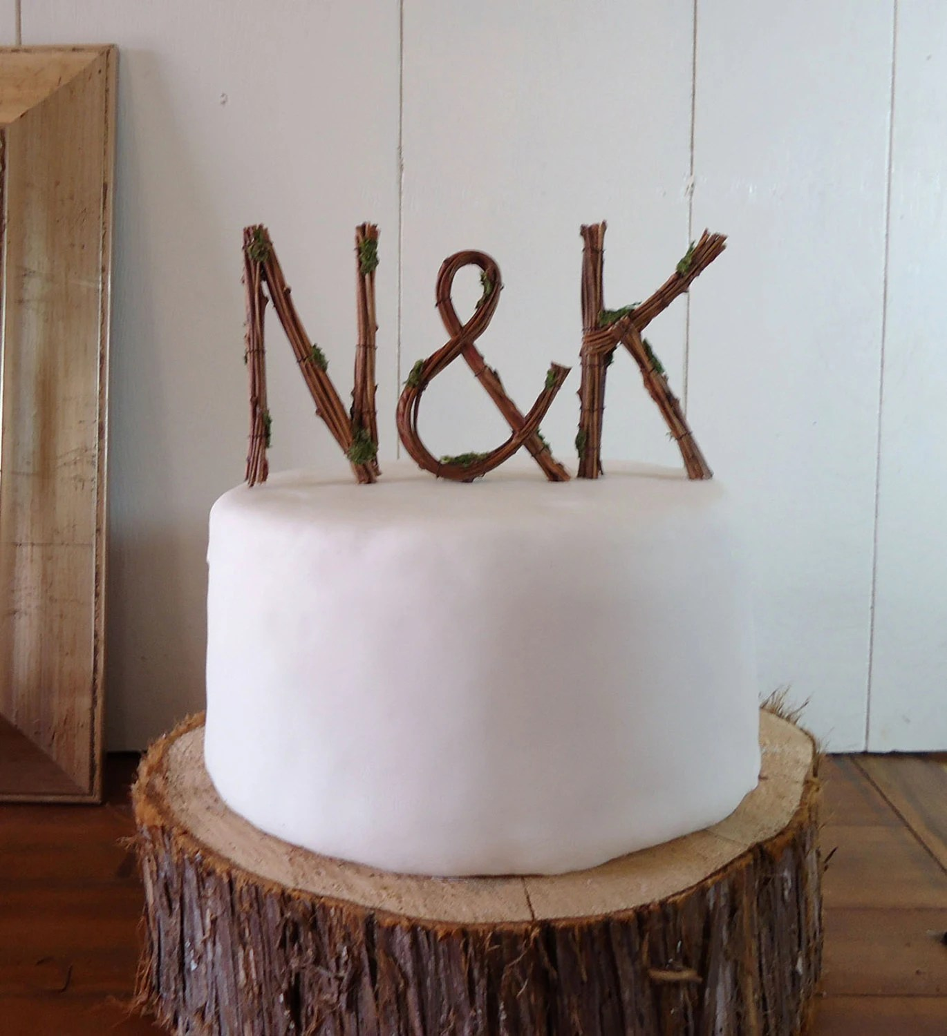 Rustic Wedding Cake Topper - Any Two Vine Letters with Ampersand
