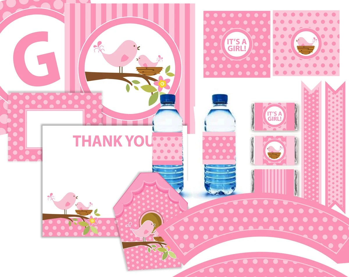 Pink Bird Baby Shower Party Kit Printable 11 Pcs Instant