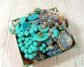 Vintage Turquoise Blues Sea Foam Greens Jewelry Collection - Baubles for Repurposing Upscaling Upcycling - Berry Basket of Supplies - DivineOrders