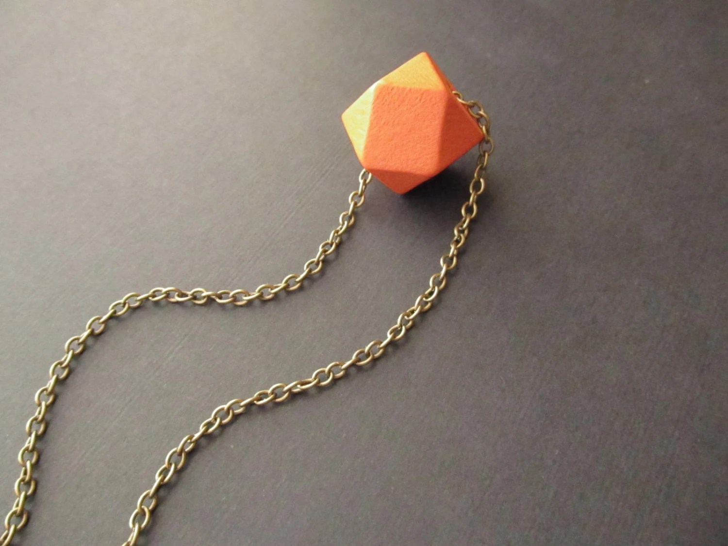 Geometric Wooden Necklace Orange Necklace  Tribal Necklace Faceted - 4Everinstyle