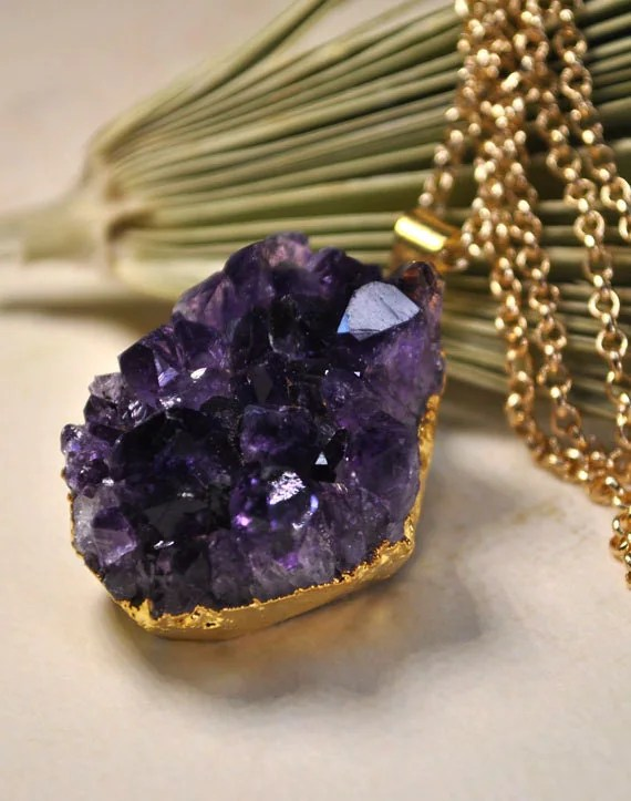 Amethyst Necklace - February Birthstone Necklace - Amethyst Geode