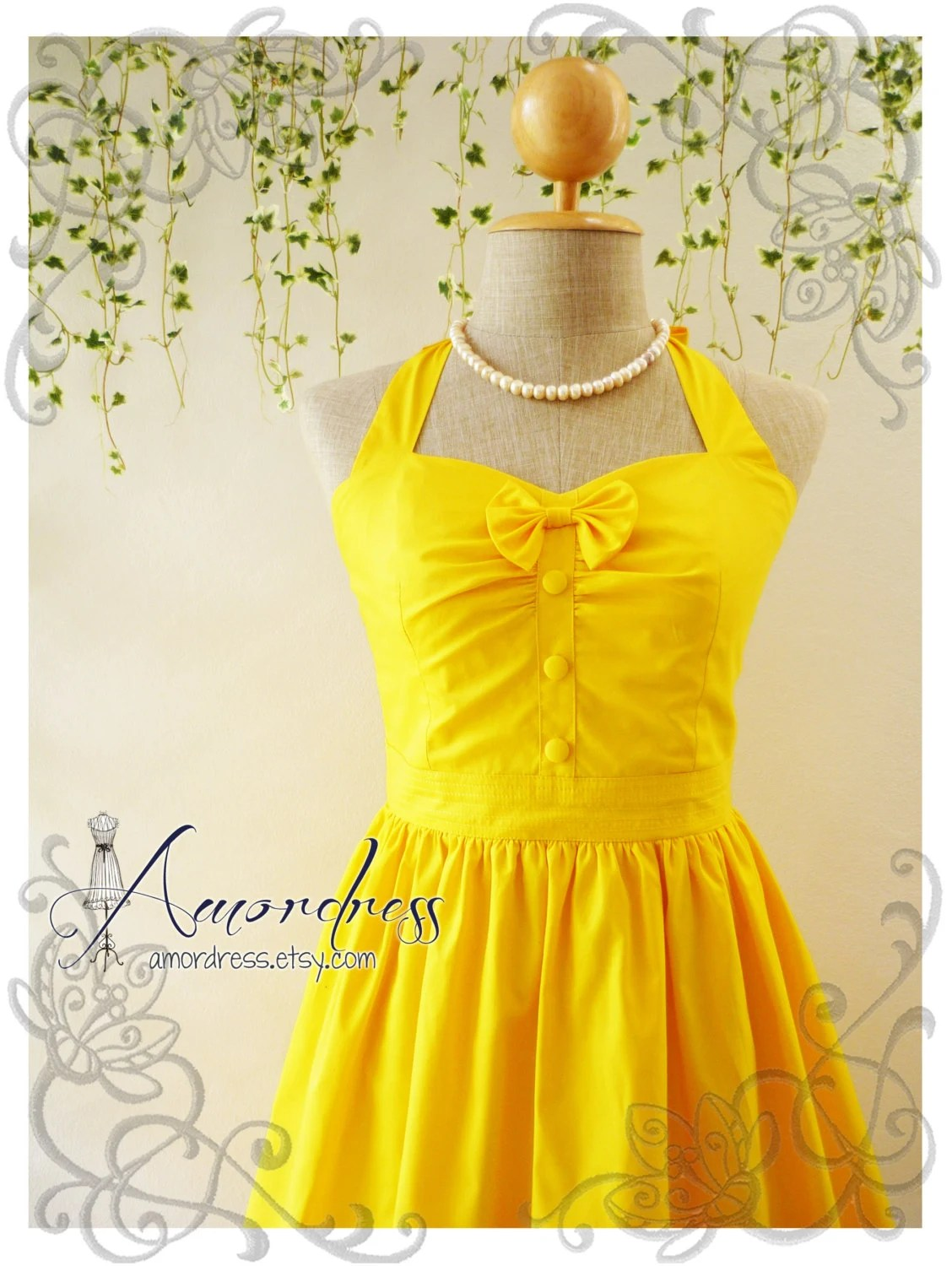 The Goddess Sunshine Yellow Dress Vintage Inspired Party Dress Halter Dress Bridesmaid Wedding Bridal Dress -Size XS, S, M, L, XL,CUSTOM- - Amordress