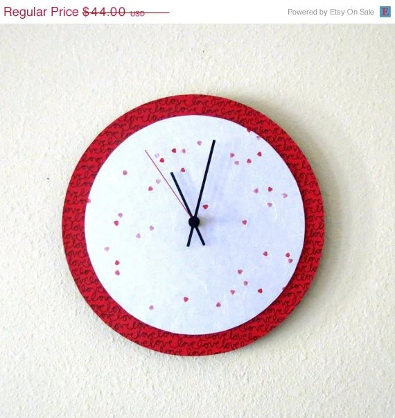 Unique Wall Clock, Valentine Red,  Decor and Housewares, Home and Living, Home Decor, Wall Decor, Unique Clock - Shannybeebo