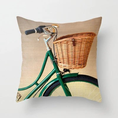 Pillow Cover Green Pillow Mint Pillow Bicycle Vintage Pillow Decoration 16 x 16 or 18 x 18