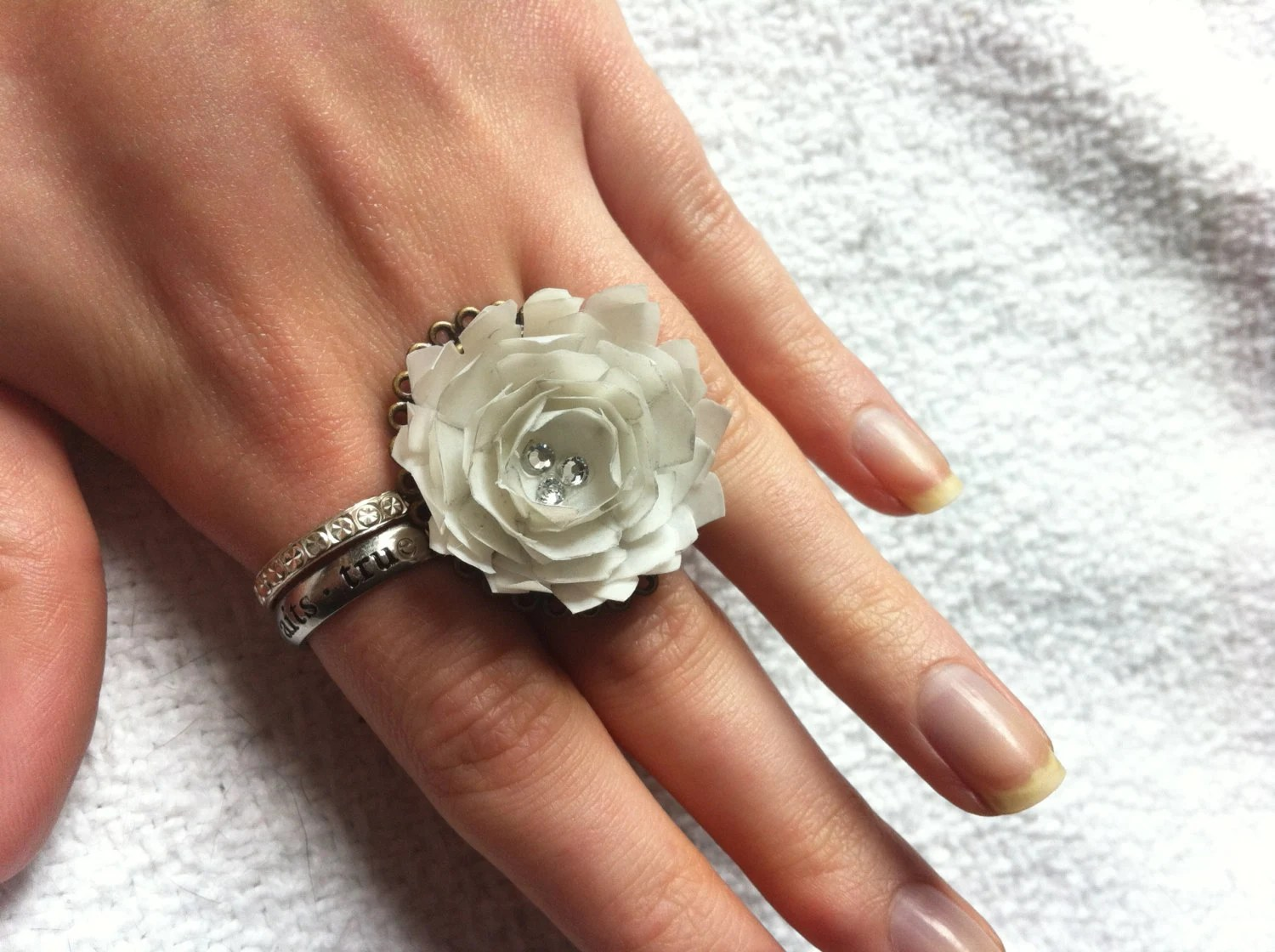 White Paper Flower Ring - BrittanysBlossoms