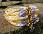 ETHIOPIAN OPAL Multi-Strand Beaded Gemstone Bracelet/Tanzanite/Pearl/Semi-Precious/Precious Beaded Cuff/14K Gold Clasp - TeeceTorre