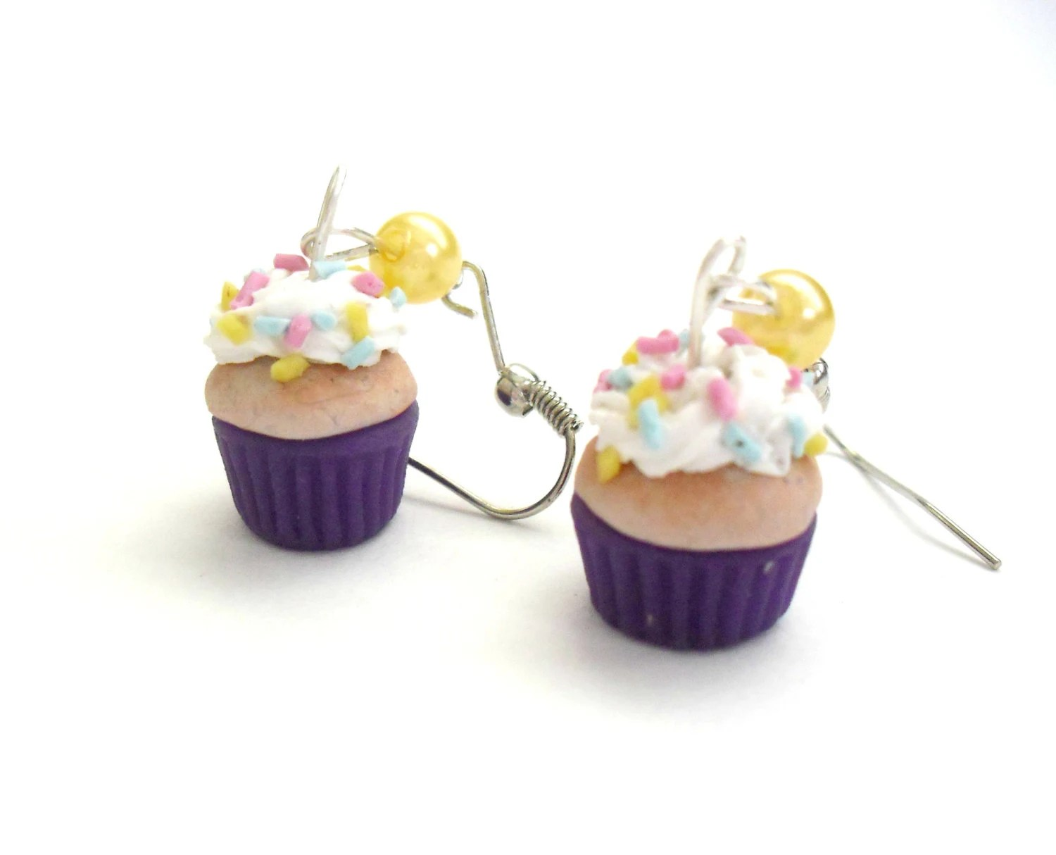 Vanilla cupcakes with sprincles and purple wrapper- polymer clay- mini food jewelry- dangle earrings with pearls- - DevineDecadance