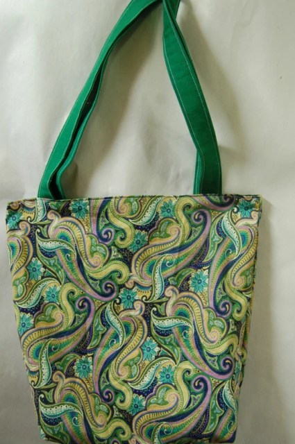 Reversible Cotton Tote Green Purple Paisley Portion of Proceeds to Charity