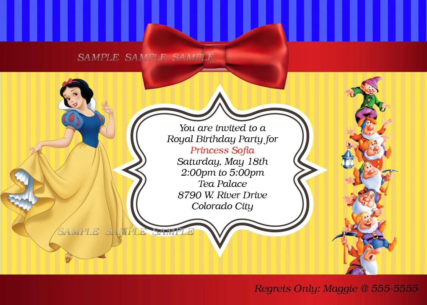 Snow White Personalized Printable Invitation Princess