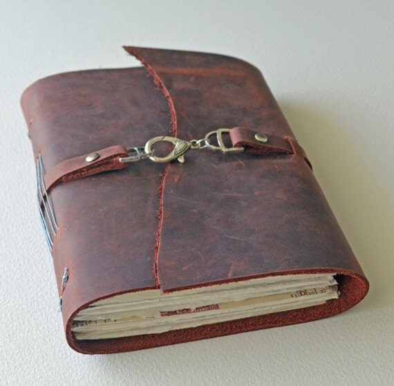 """Leather Journal Diary - Handbound - Rustic Deep Red - 5x7"""" Pages"""