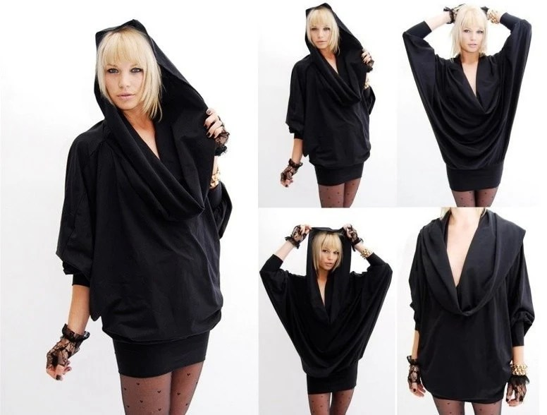 Cowl Dress Hooded Cowl Dress Black Cowl Dress Hooded Black
