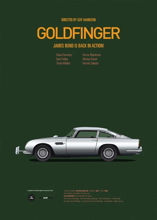Goldfinger inspired movie poster, art print A3 Cars And Films