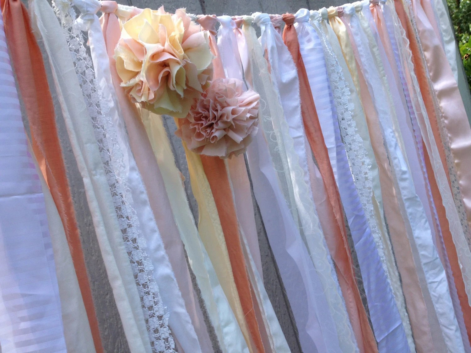 Peach Wedding Backdrop Fabric Garland - with Pom Poms - Rustic, Shabby, Tattered, Chic  - Special Event -