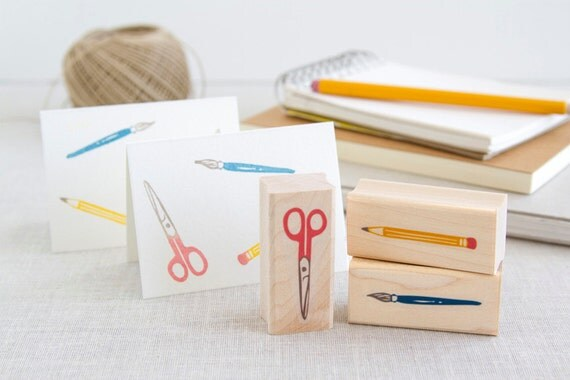 Artist Set Rubber Stamp Set - Scissors Pencil Paintbrush - Perfect for Sketchbook Scrapbook Kids Crafts School Projects Party Invites & More