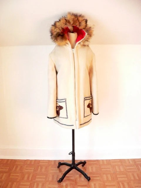 INUIT Eskimo Fur Hood WOOL PARKA  Large