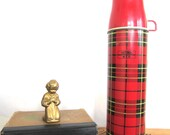 "1970s Red Plaid ""King-Seeley"" Thermos - PaperDarlings"