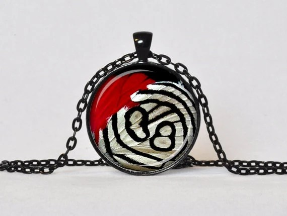 BUTTERFLY WING PENDANT Butterfly Necklace Red Black White Butterfly Jewelry Insect Necklace Wild Animal Print Gift for Her - ThePendantGarden