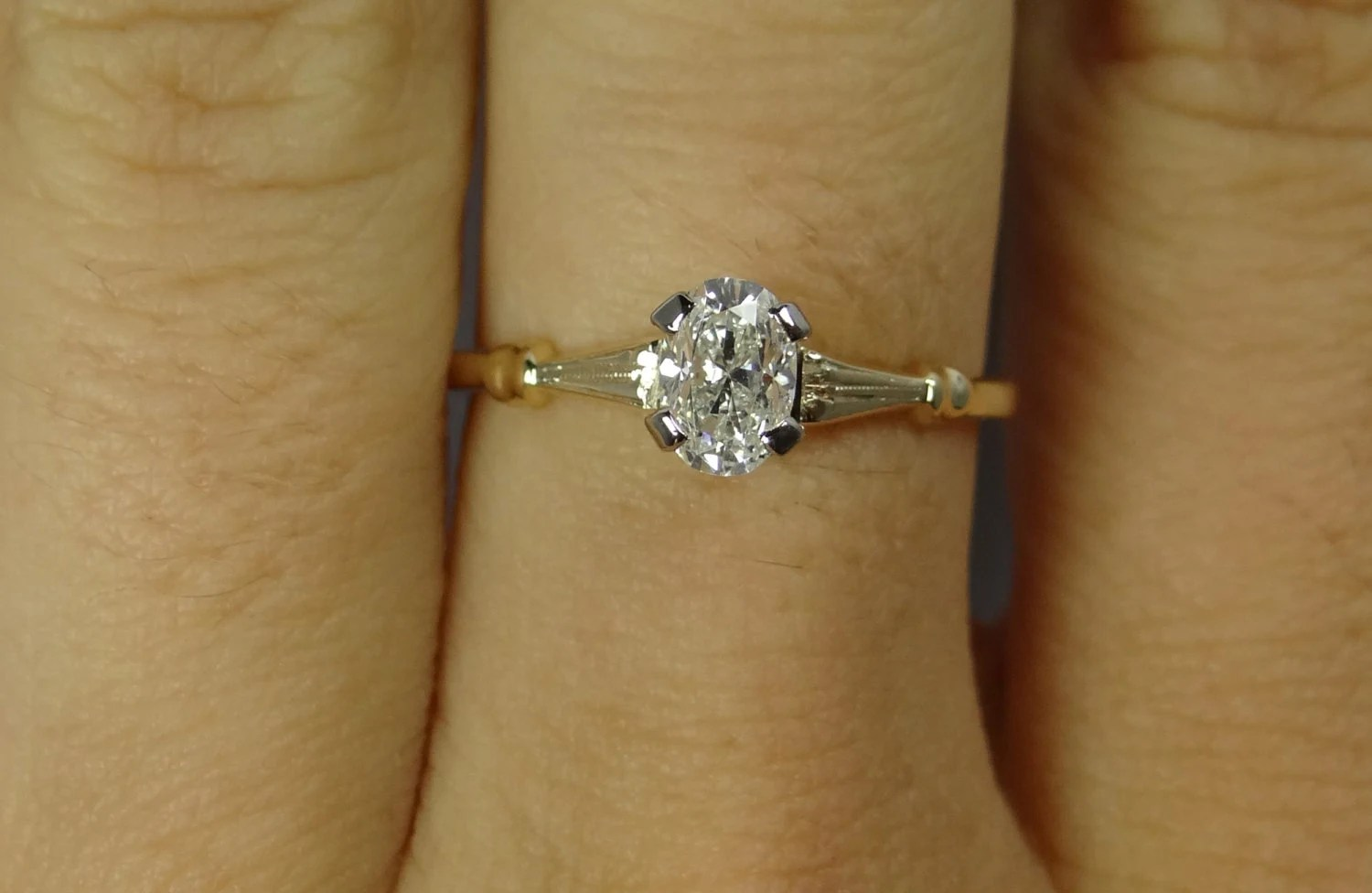Simple Yellow Gold Vintage Oval Diamond Solitaire Engagement