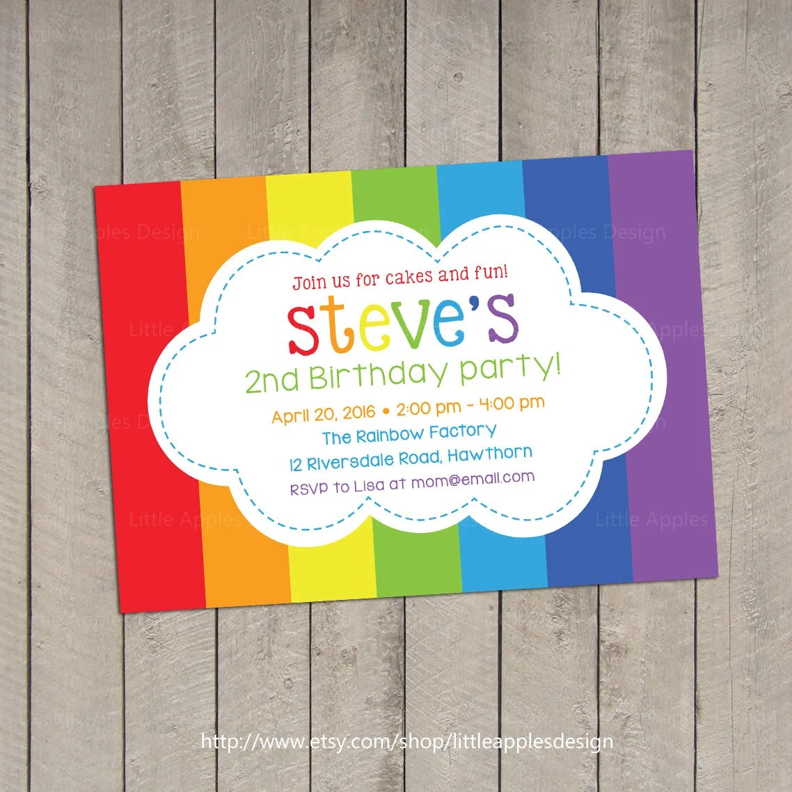 Rainbow Invitation Rainbow Birthday Invitation Rainbow