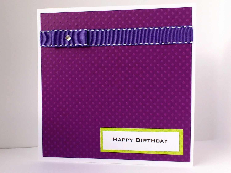 Purple birthday card - modern birthday cards - plum aubergine green lime - birthdays greeting card - happy birthday card - cards for men
