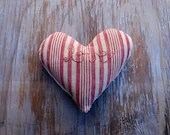 Striped Love Sachet -Pink Red & Hemp Vintage French Lavender Sachet - KellinaDesigns