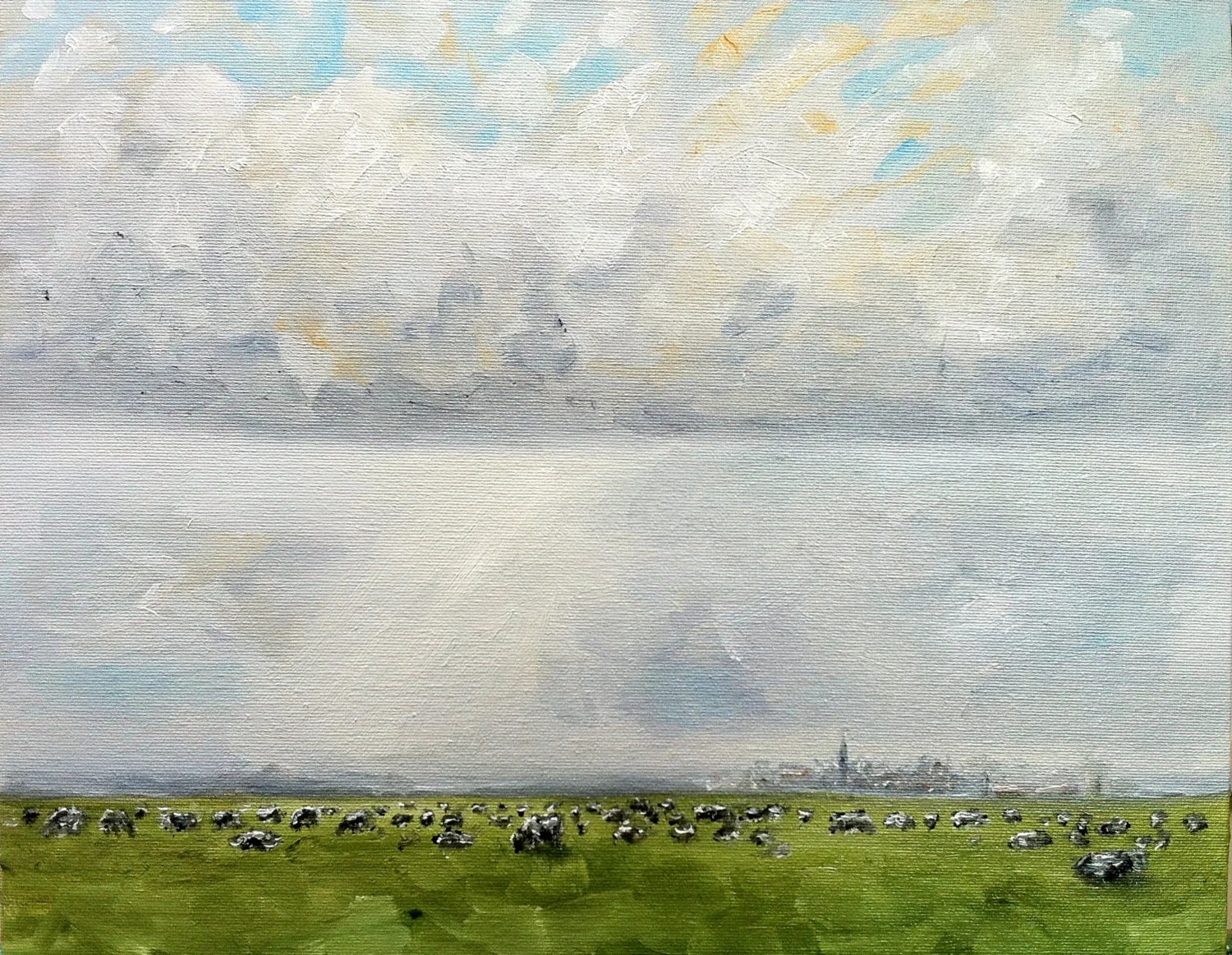 Dutch Landscape with Cows and Sky oil painting 9.45 x 11.81 inches - NancyvandenBoom