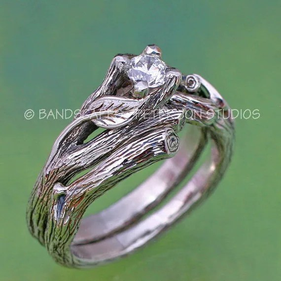 The ACADIA Wedding Ring Set Gold And NATURAL By BandScapes