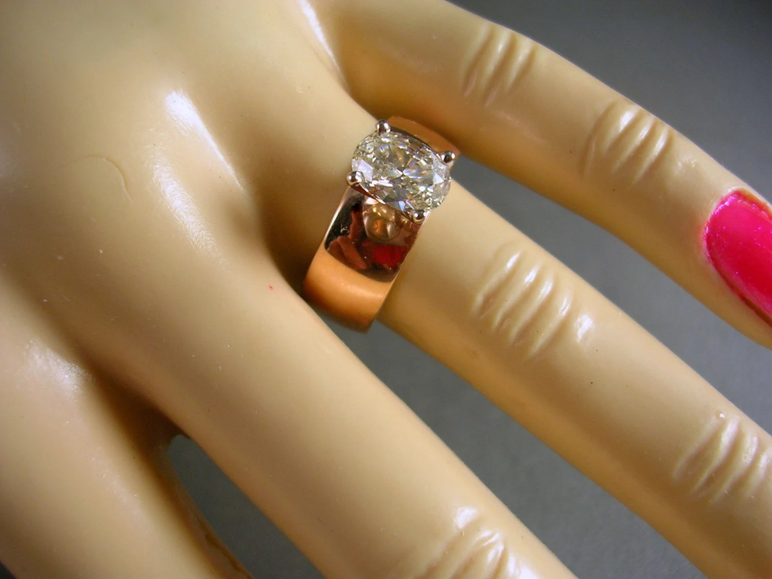 Russian Rose Gold Wide Band Ring 84 Carat Oval Diamond 55gm