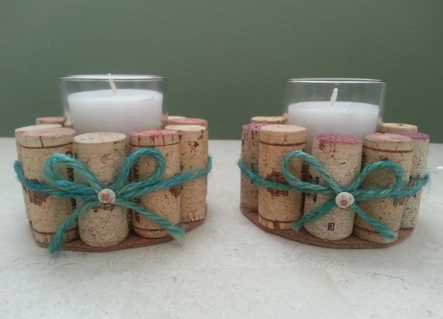 Items Similar To Wine Cork Candle Holders With Turquoise