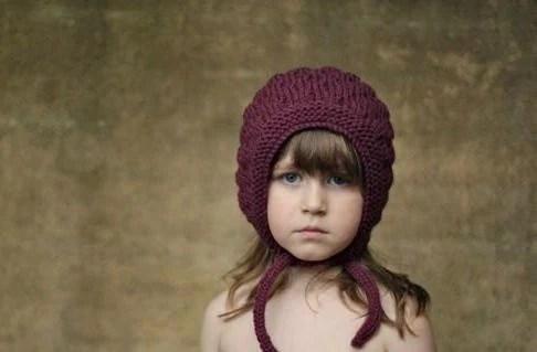 Bumpy Bonnet, Plum, Kid Size. Handmade, Vintage-Inspired Woollen Hat - typicallyred