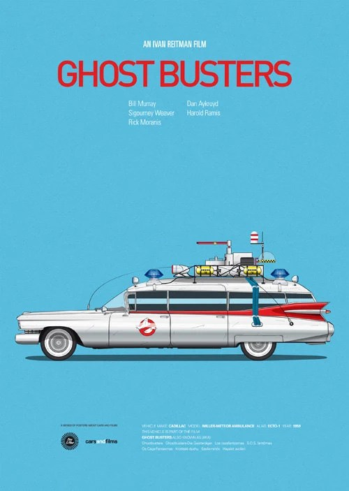 Ghost Busters inspired movie poster, art print A3 Cars And Films
