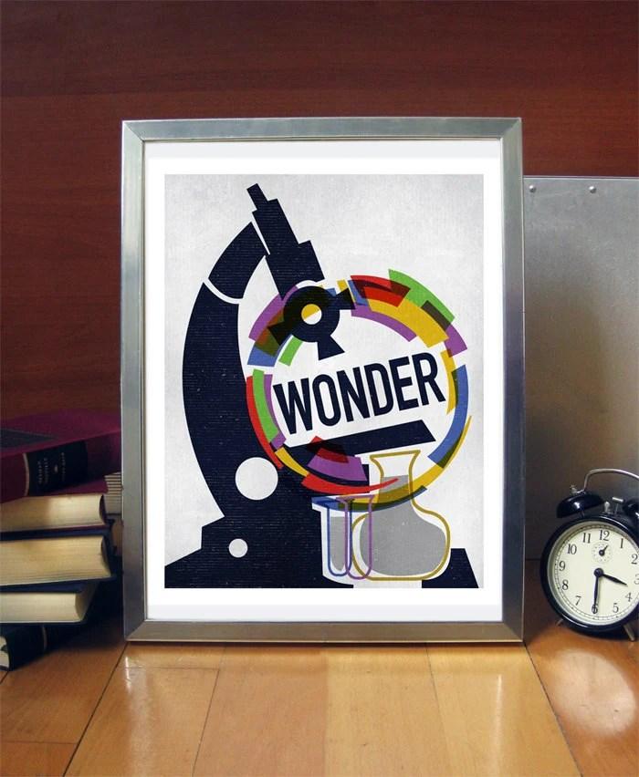Science Poster Art Print Original Illustration Stellar Science Wonder 11x14 Science Poster Print