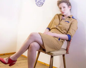 Brown dress, diner dress, retro dress, uniform dress, waitress dress.