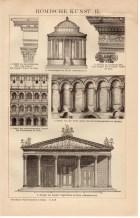 1895 Roman Art, Antique Print, Tivoli Temple, Colosseum, Porta Aurea, Jupiter Temple, Julius Caesar, Agrippina, Caracalla, Pompeii, Rome