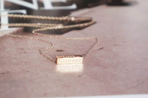 Motto words bar necklace - rose gold titanium