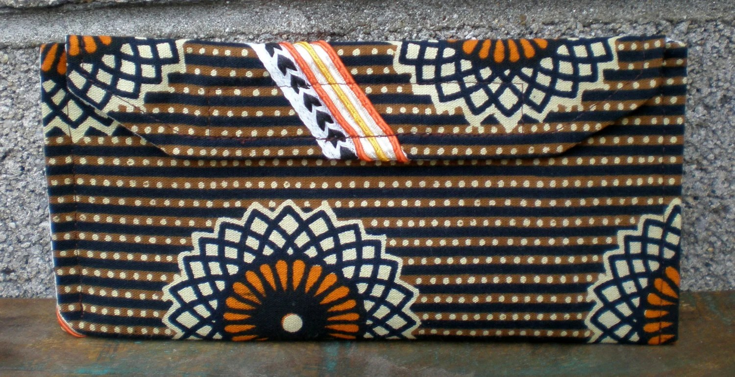 Velcro Wallet Vintage Brown Black Orange and White Striped Flower Retro - pheajean