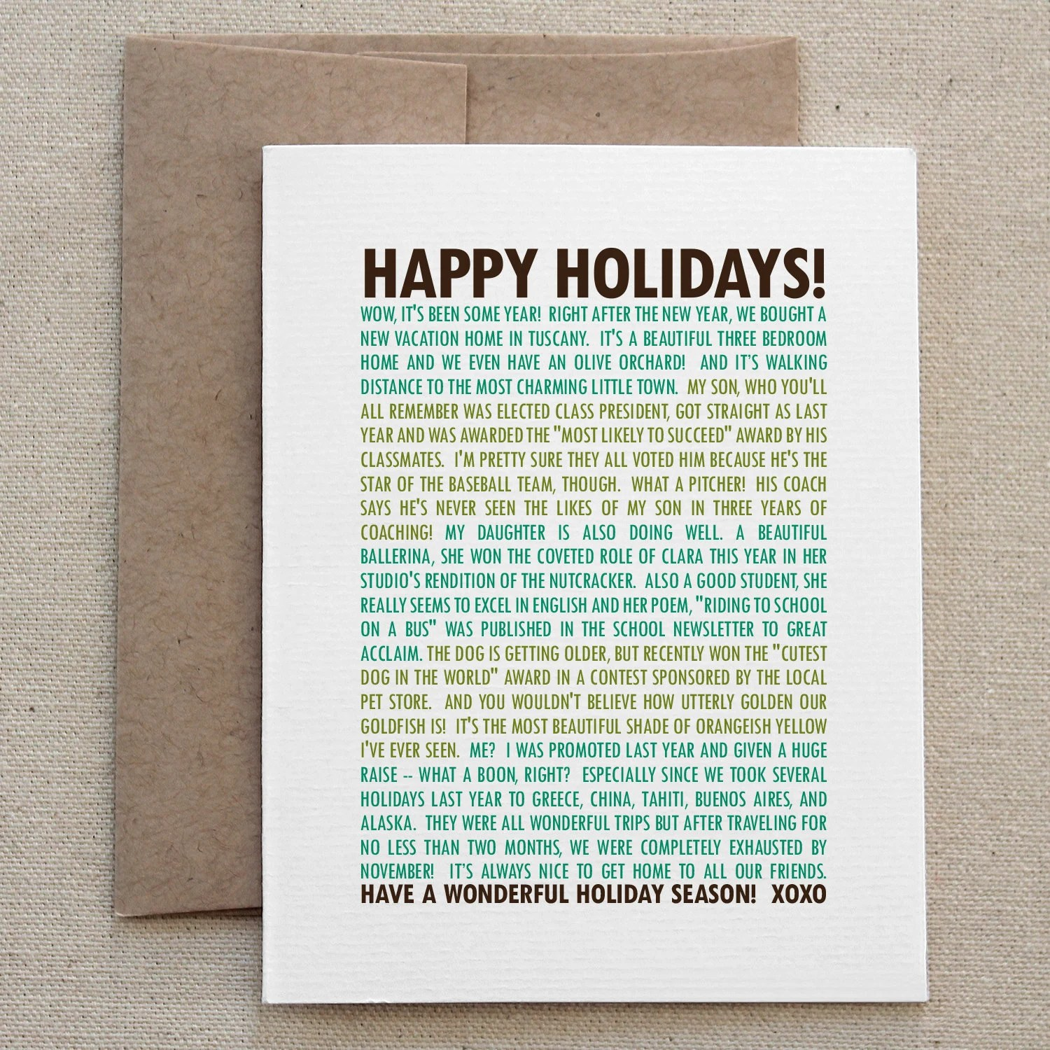 Christmas Card Snarky Funny Sarcastic Green Holiday For