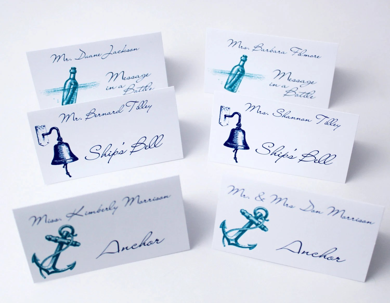 Items Similar To Beach Wedding Place Cards Wedding Table