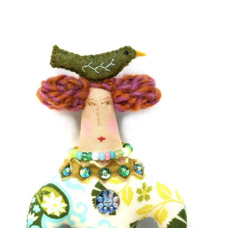 SALE  Textile Art Cloth Art Doll with a Green Bird on Top of Her Head. Fabric Art Doll.  Use coupon code SEA15 at checkout for 15% Off.