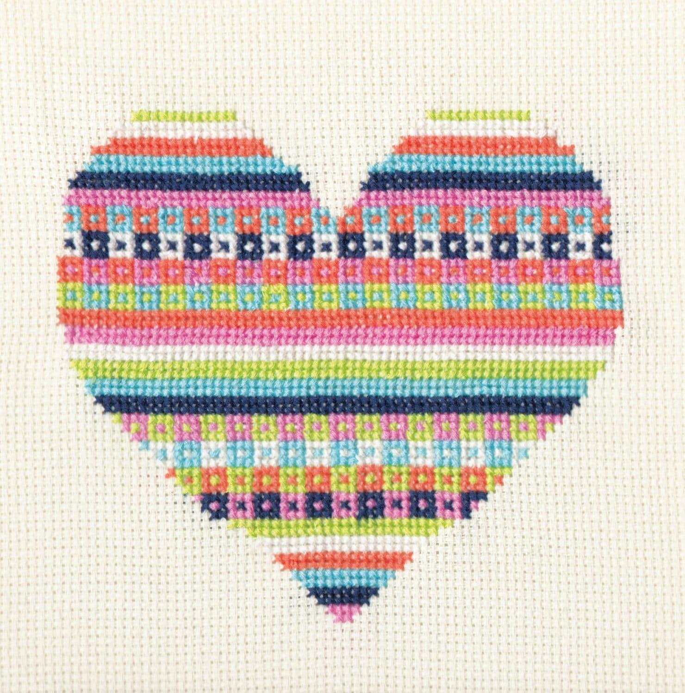 Pattern Candy Fairisle Valentine Heart Cross Stitch Chart
