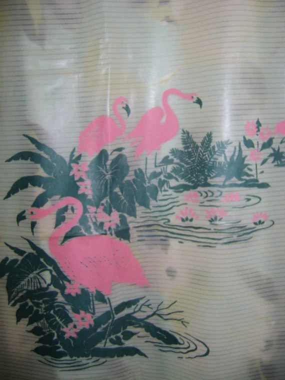 50s Vintage 1950s Shower Curtain PINK FLAMINGO Jade Green