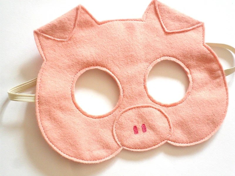 Pig Felt Children Mask, Kids Carnival Dress up Costume Accessory, Pretend Play Toy for Girls and Toddlers - BHBKidstyle