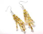 Beaded Golden Dangle Earrings on Silver Plated Hooks or Clip Ons - MegansBeadedDesigns