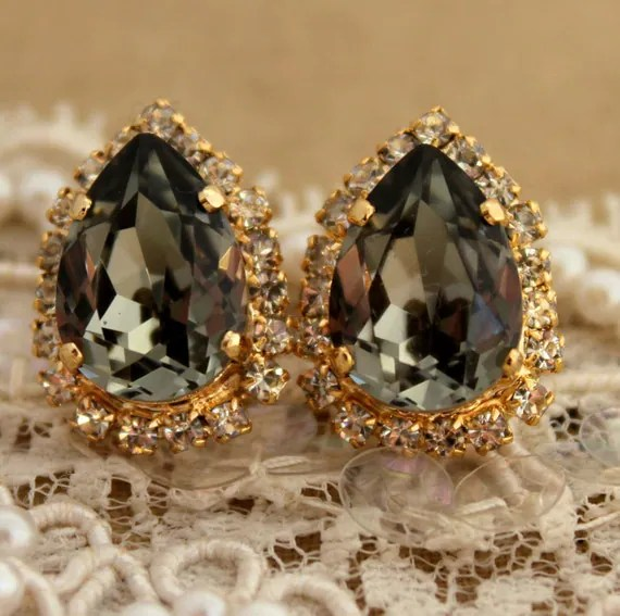 Smoky Gray Crystal big teardrop stud earring - 14k plated gold post earrings real Swarovski rhinestones, iloniti