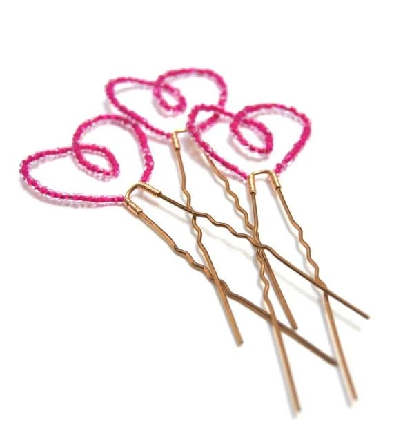 Valentines Love Hair Pins Pink Sweet Heart Hair Accessory Fashion LoveandCherish - LoveandCherish