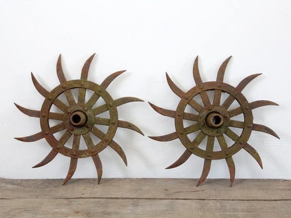 Farm Implement Vintage Spiked Gear Wheel